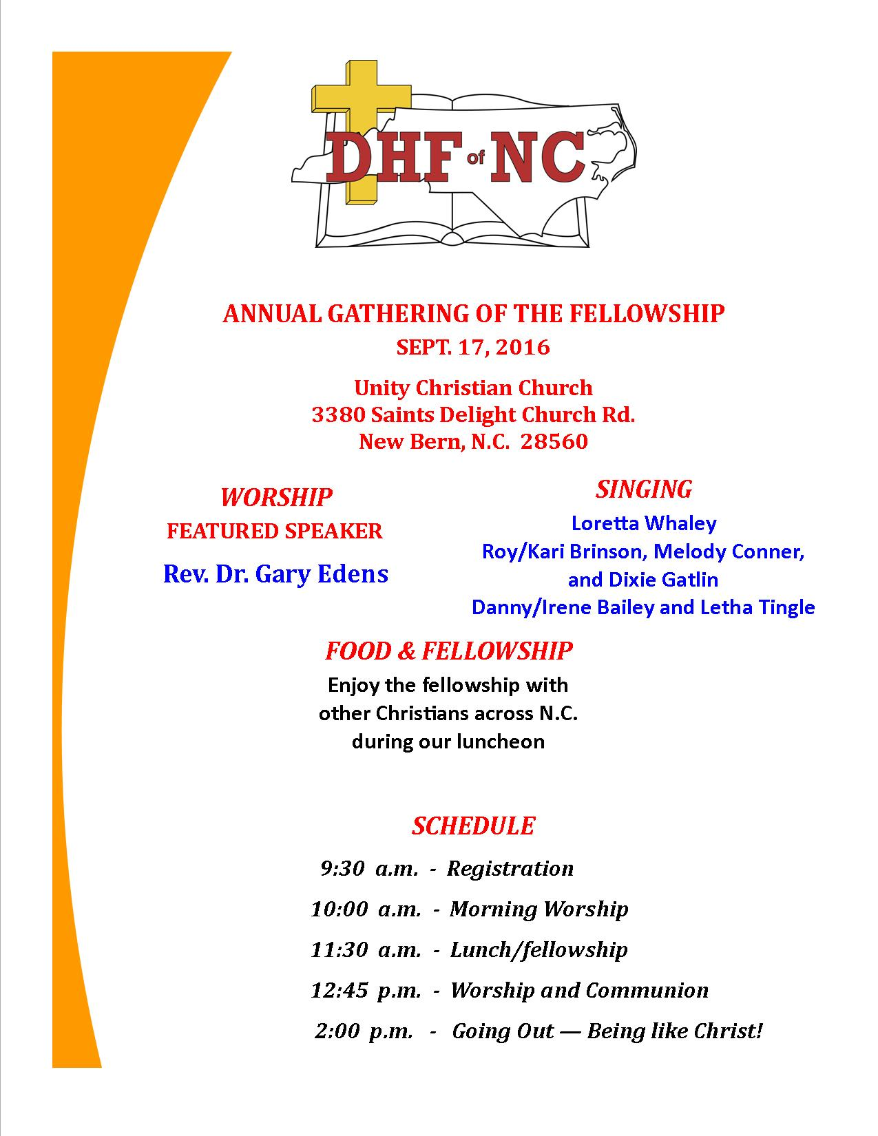 DHF of NC - ANNUAL GATHERING POSTER - 9-17-2016