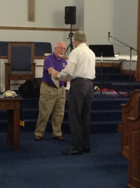 Rev. Jack Mumford receives DHF of NC certificate of membership for Otway CC