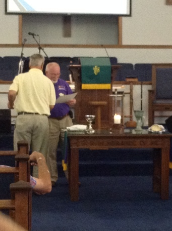 Rev. Bill Pollack receives DHF of NC certificate of membership for FCC Richlands